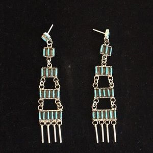 Jewelry - Long turquoise needlepoint earrings